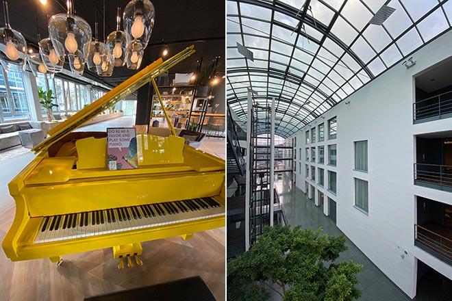 Gelb zieht sich durchs ganze Hotel, z.B. sind auch alle Designer-Waschbecken in der Signalfarbe GELB