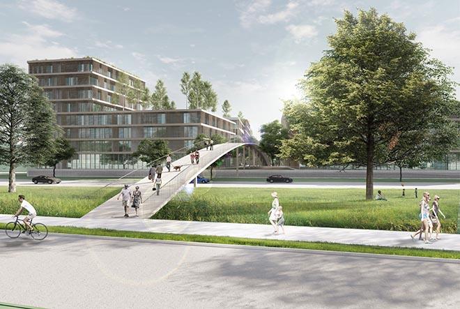 Starnberg neues Quartier bekommt viel Holz und eine Brücke als direkte Verbindung zum See. Visualisierung: Kehrbaum Architekten