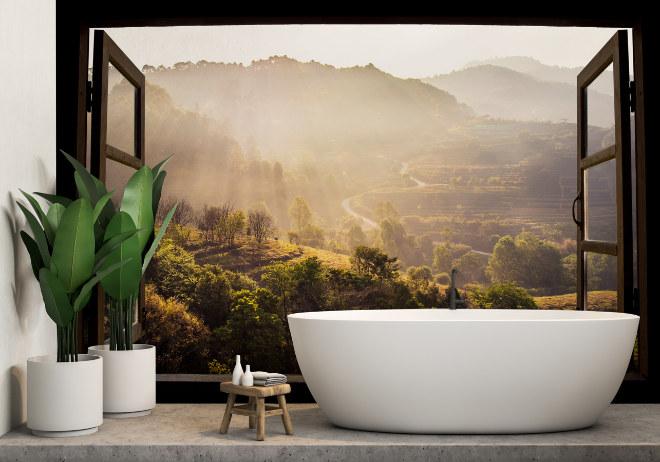 Ein Badezimmer dank Fototapete mitten in der Natur. Fotocredit: myloview.de