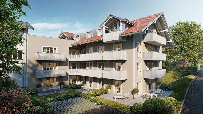 Zwölf Eigentumswohnungen entstehen in diesem Mehrfamilienhaus in Bad Tölz. Fotocredit: neubaukompass.de