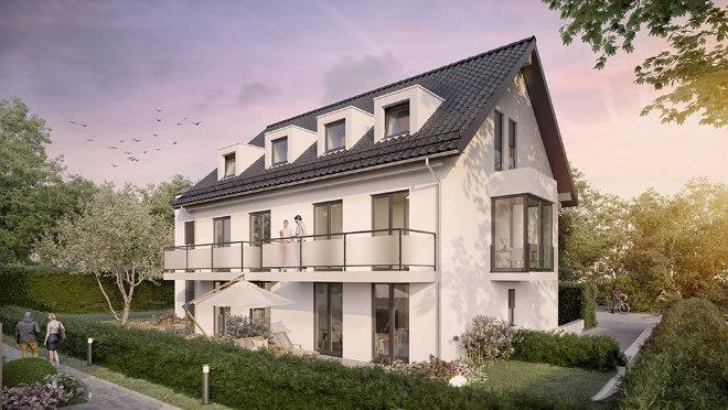 Immobilien in Grünwald: Fünf Eigentumswohnungen mit 2 - 3,5 Zimmern sowie Wohnflächen von ca. 58,10 bis 100,16qm.