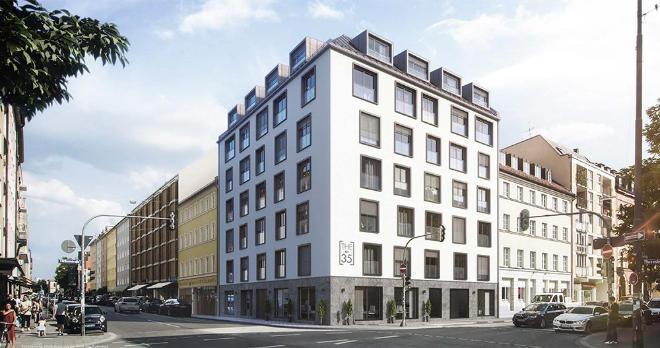Mit seinen großformatigen Fensterelementen und den anthrazitfarbenen Alurahmen ist THE No.35 ein echter Eyecatcher in der Theresienstraße! Auffällig, aber nicht laut. Elegant, aber auf die moderne Art. Und exklusiv, aber mit viel Stil.