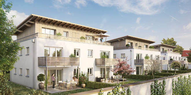 Haus oder Wohnung in Holzkirchen: Durch die unterhalb der Häuser 1-3 situierte Tiefgarage entsteht ein nahezu autofreies Areal,