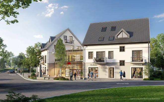 """In der Aufkirchner Straße 2, im Herzen der Gemeinde Berg und nur wenige hundert Meter vom Starnberger See, entsteht das Quartier """"Am Brunnenplatzl""""."""