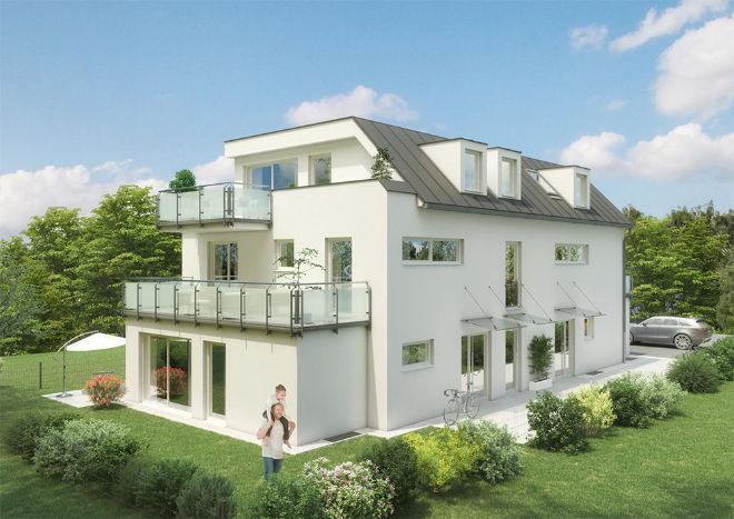Doppelhaus neu gedacht: in München Obermenzing entstehen zwei Stadthäuser mit Penthouse!