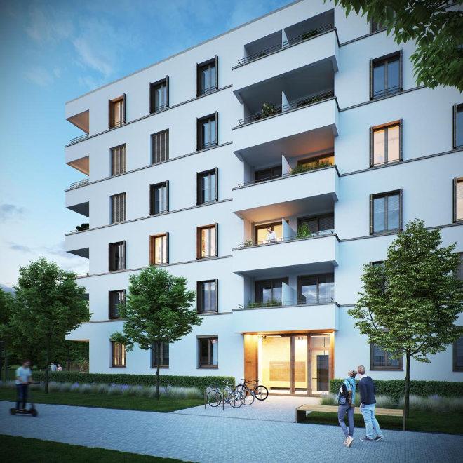 Für Anfang 2023 ist die Fertigstellung der 141 Eigentumswohnungen mit Wohnungsgrößen von ca. 41 bis 114 qm geplant. Fotocredit: neubaukompass.de