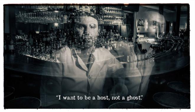 Andy Till von Pacific Times bringt es auf den Punkt: 'I want to be a host, not a ghost'. Fotocredit: Jochen Hirschfeld. Er ist einer der Großen in der Bar Szene München