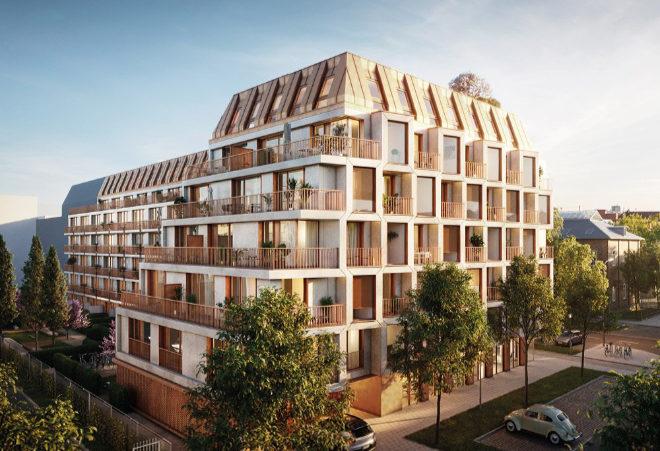 Asymmetrische Vorsprünge, raumhohe Fensterflächen und Balkone erzeugen eine hohe Dynamik. Fotocredit: neubaukompass.de