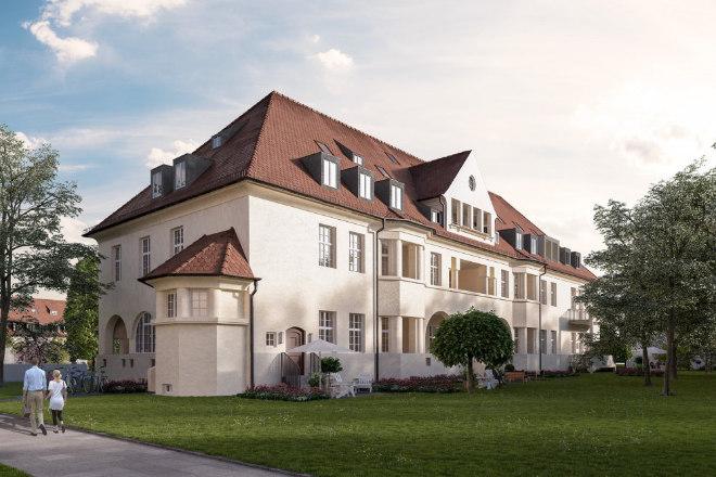 In München Haar entsteht das Quartier 1907, geht auf diese Jahreszahl die Entstehung der vielen Jugendstil-Häuser auf dem Ex-Klinikgelände zurück! In diesem Haus werden 59 Wohnungen revitalisiert. Fotocredit: neubaukompass.de