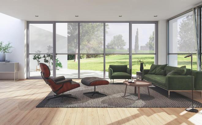 Je nach gewähltem Textil und Gewebeöffnungsfaktor bleibt bei dem ZDS in dem Fenstersystem AWS auch mit Sonnenschutz Rollos ein optimaler Bezug zur Außenwelt bestehen
