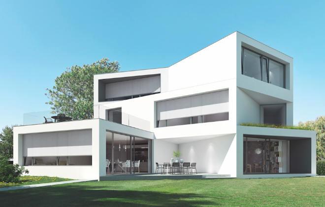 Der außenliegende, integrierte Sonnenschutz Rollos Schüco AB ZDS ist äußerst witterungs- und windstabil und fügt sich durch seine individuellen Gestaltungsmöglichkeiten in jede Fassadenoptik ein.