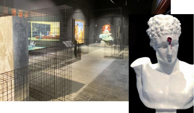 Im Eingangsbereich vom MUCA Museum ist Bansky omnipräsent. Street Art München hinter Museumstüren. Die David-Büste mit Kopfschuss stand bei Jolie-Pitt.