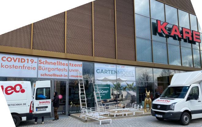Corona Schnelltest München im Möbelhaus: Bei negativem Ergebnis dient das Papier auch als Einlassticket ins Möbelhaus.