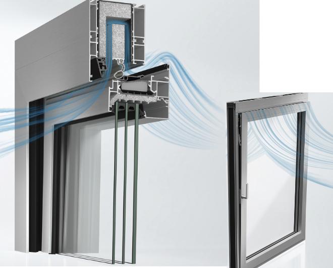 Die Luft wird einfach über die im oberen Blendrahmen eingesetzten vorkonfektionierten Lüftungskassetten geleitet. Auf diese Weise baut sich der Schall ab und frische Luft findet den Weg nach innen.