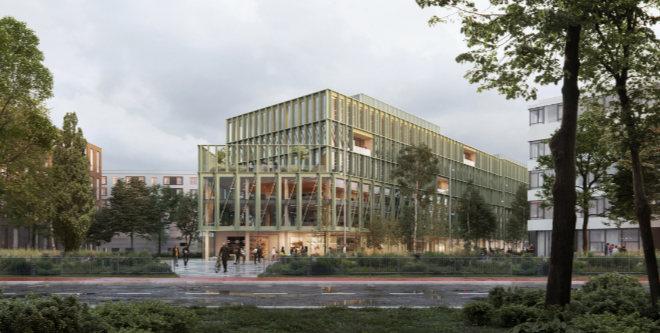 i8 Holzbau Gebäude wird die Zukunft von Bürogebäuden neu definieren! Fotocredit: CF Moller Architects