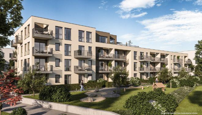 Neubauwohnungen München - Penthouse oder Wohnung mit Privatgarten - im Münchner Norden entsteht ein Quartier mit 33 Eigentumswohnungen. Fotocredit: neubaukompass.de