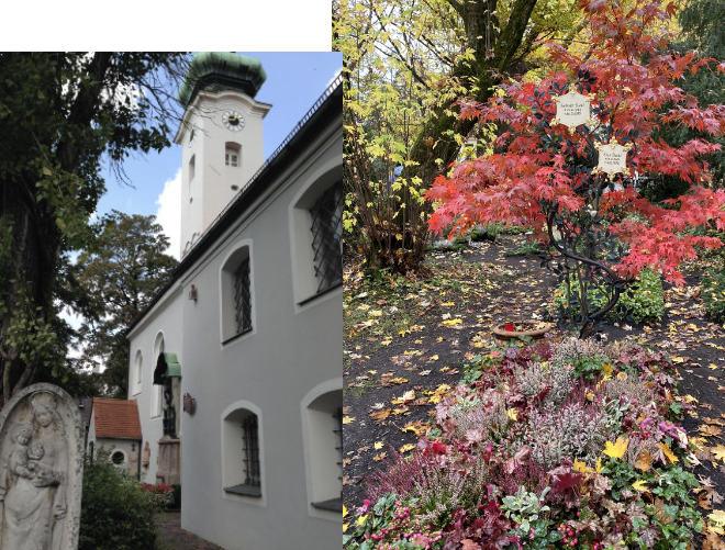 Nur wenige Gräber gibt es auf dem kleinen Bogenhausener Friedhof, welcher besonders bei Prominenten sehr beliebt ist.