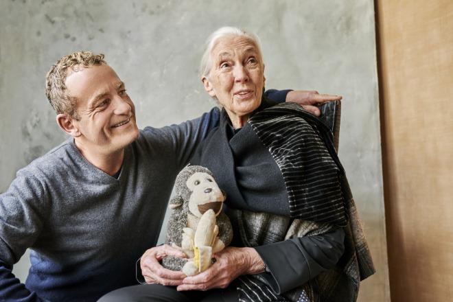 'Elemente Clemente'-Gründer Clemens Dörr gemeinsam mit Jane Goodall, welche im April diesen Jahres unglaubliche 87 Jahre alt wurde. Fotocredit: Vincenzo Buscemi
