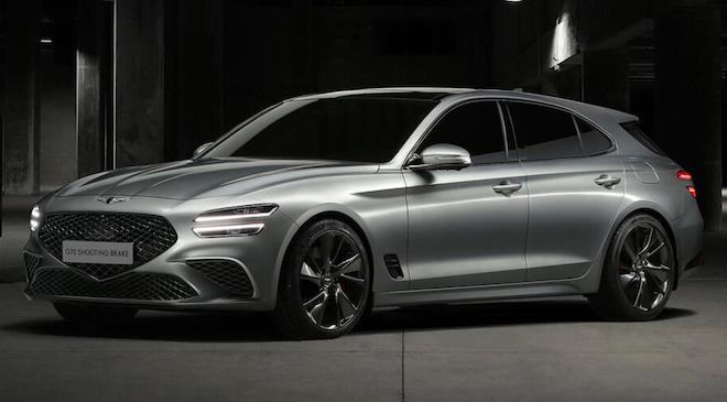 Mit dem G70 Shooting Brake will Genesis München den Kombiversionen des Audi A4, BMW 3er und der Mercedes C-Klasse Marktanteile abjagen. Mit 4,69 Meter Länge, 1,85 Meter Breite und 1,40 Meter Höhe bei einem Radstand von 2,84 Meter siedelt sich der Koreaner genau in deren Segment an. Foto Presse Genesis