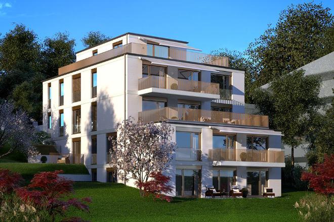 In einer Villa als Traumimmobilie entstehen hier nur vier Eigentumswohnungen direkt am Pöckinger Schlosspark. Fotocredit: neubaukompass.de