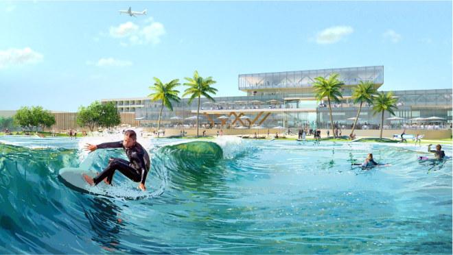 Die Wellenanlage bietet Kapazität für bis zu 700 aktive Surfer täglich. Fotocredit: Surftown MUC