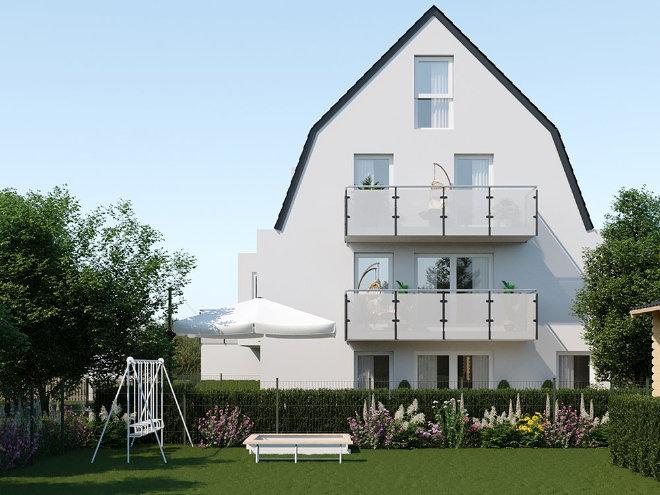 Testament zum Immobilienkauf: Zu jeder Wohnung gehört ein Privatgartenanteil im Sondernutzungsrecht, welcher im Kaufpreis bereits enthalten ist.