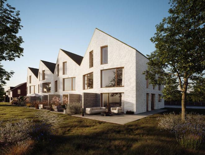 Stadthaus Architektur - Die Architekten interpretieren das klassische Satteldachgebäude der Umgebung neu, indem die Firstrichtung gedreht und das Gebäudevolumen durch schräg verlaufende Fassadenflächen aufgeteilt und gegliedert wird.