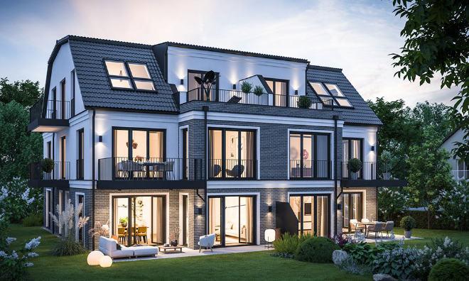 Die aufwändigen Gesimse- und Klinkerarbeiten an der Fassade sowie bodentiefe, großflächige Fensterflächen lassen das Anwesen exklusiv und repräsentativ wirken. Fotocredit: neubaukompass.de