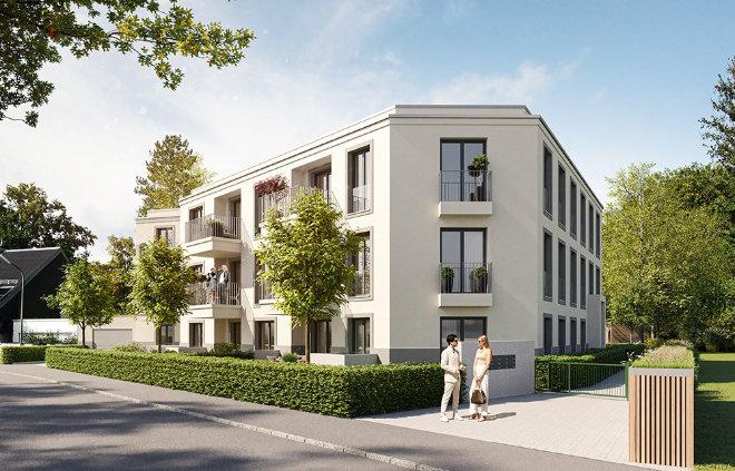 Zwölf Eigentumswohnungen bieten 2 bis 4 Zimmer, ca. 75 bis 143 m² Wohnfläche bei diesem Neubauprojekt der ZIMA-Gruppe in München-Obermenzing. Fotocredit: neubaukompass